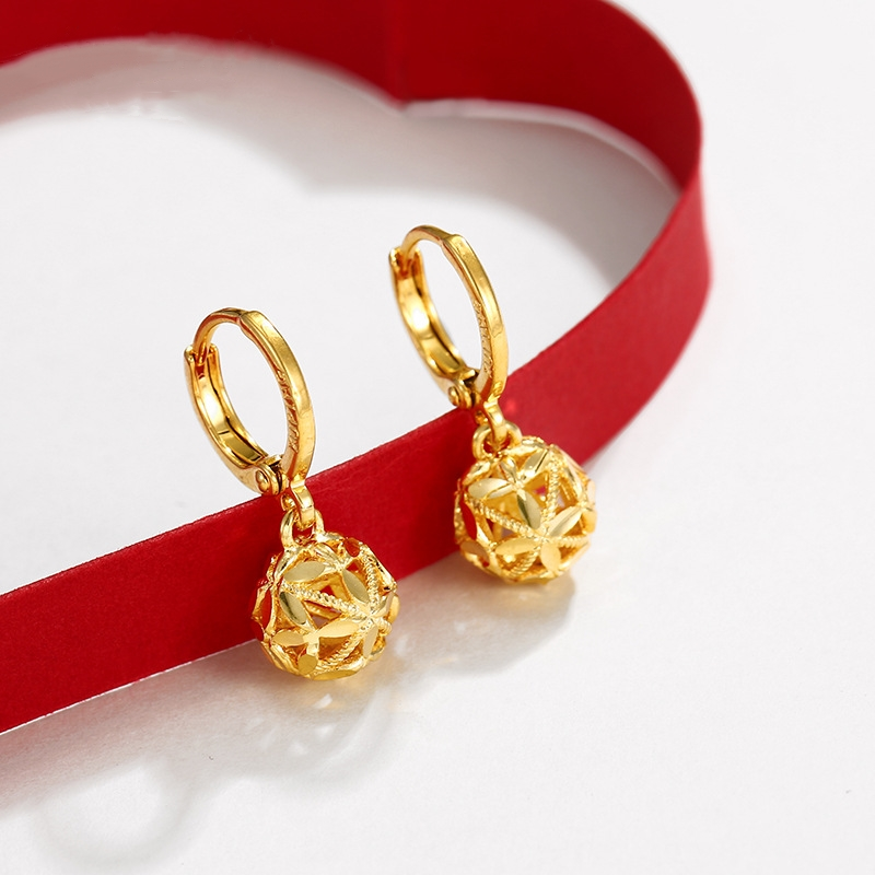 【11狂欢价】黄金999新款时尚耳钉耳环耳棒耳饰专柜女款前后简约